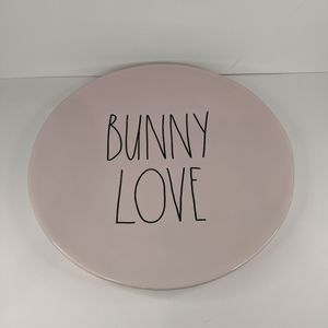 "Rae Dunn Pastel PINK BUNNY LOVE Large 11"" Plate"